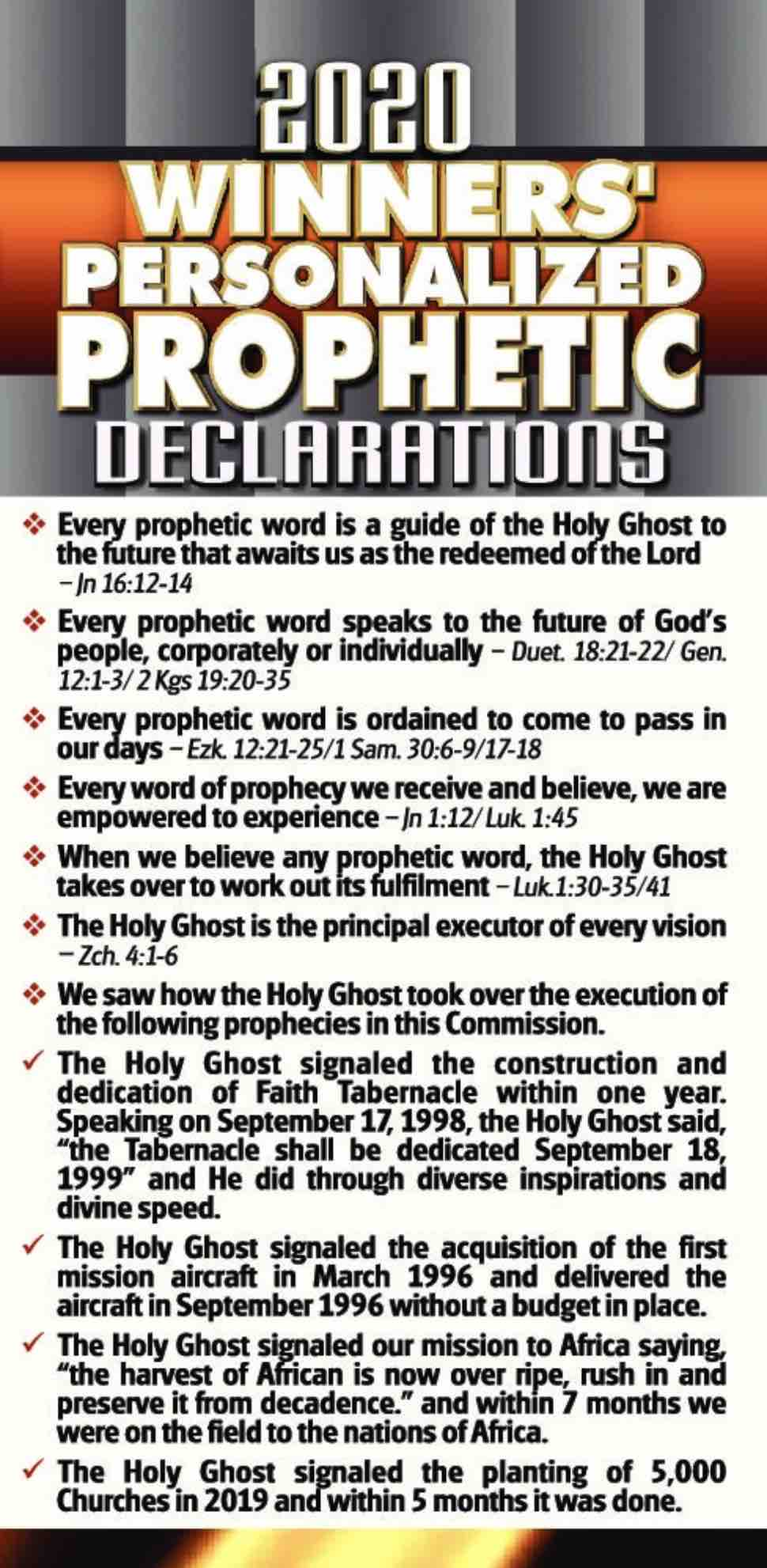 2020 Personalized Prophetic Declarations